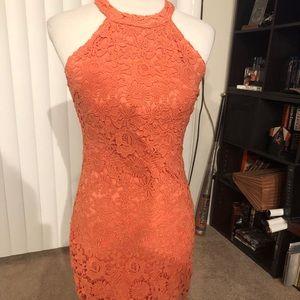 af52cb700dec Lulu's love poem coral orange lace dress